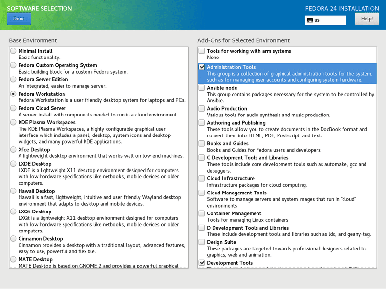 Fedora 24 Anaconda software selection