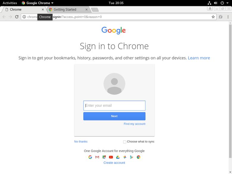 Google Chrome Running on Fedora 25