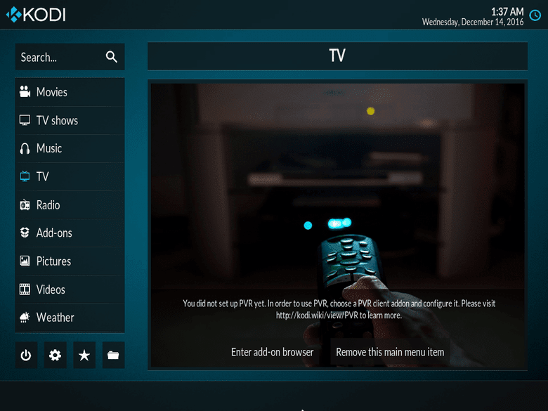 Kodi running on Fedora 25