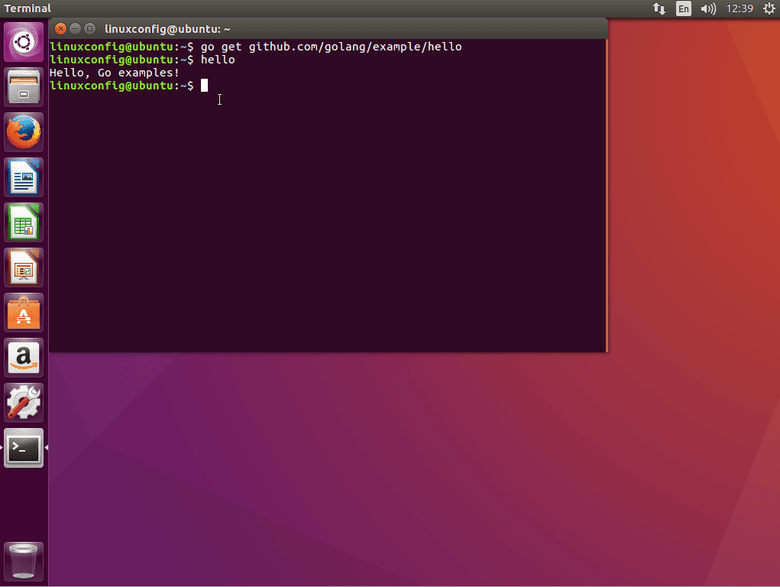 Go Language hello world example ubuntu
