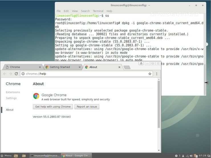 install google chrome browser debian 9 stretch linux