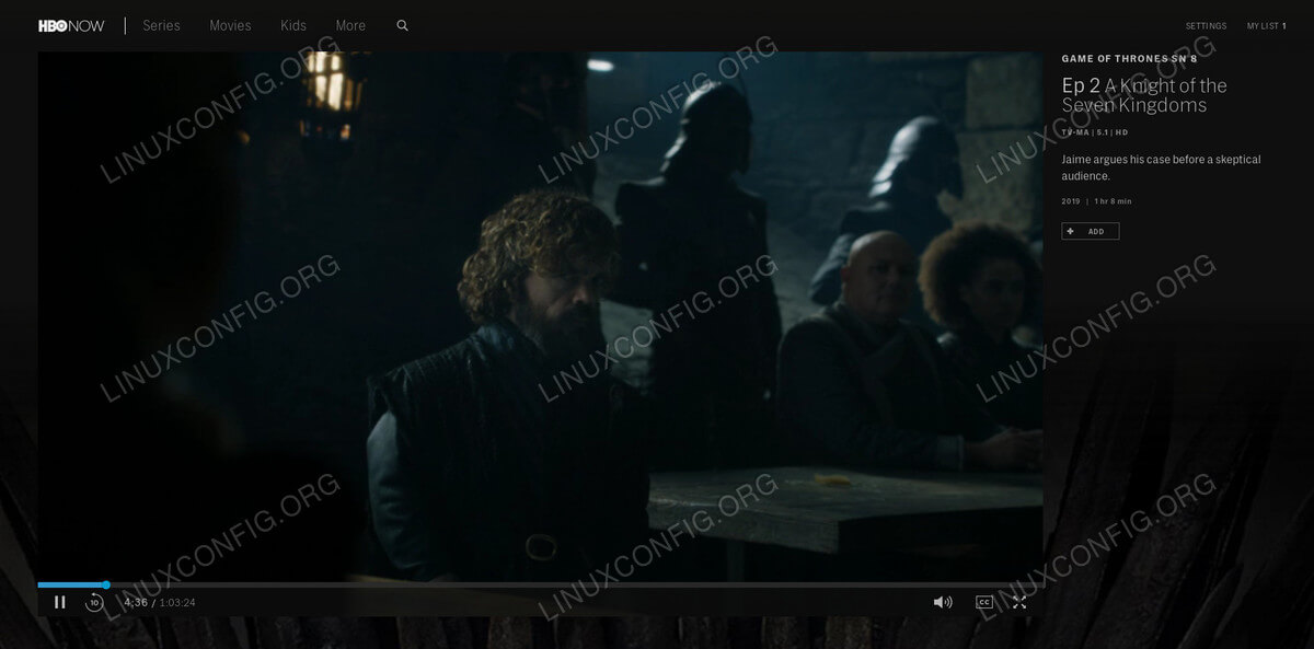 HBO Now playing on Linux
