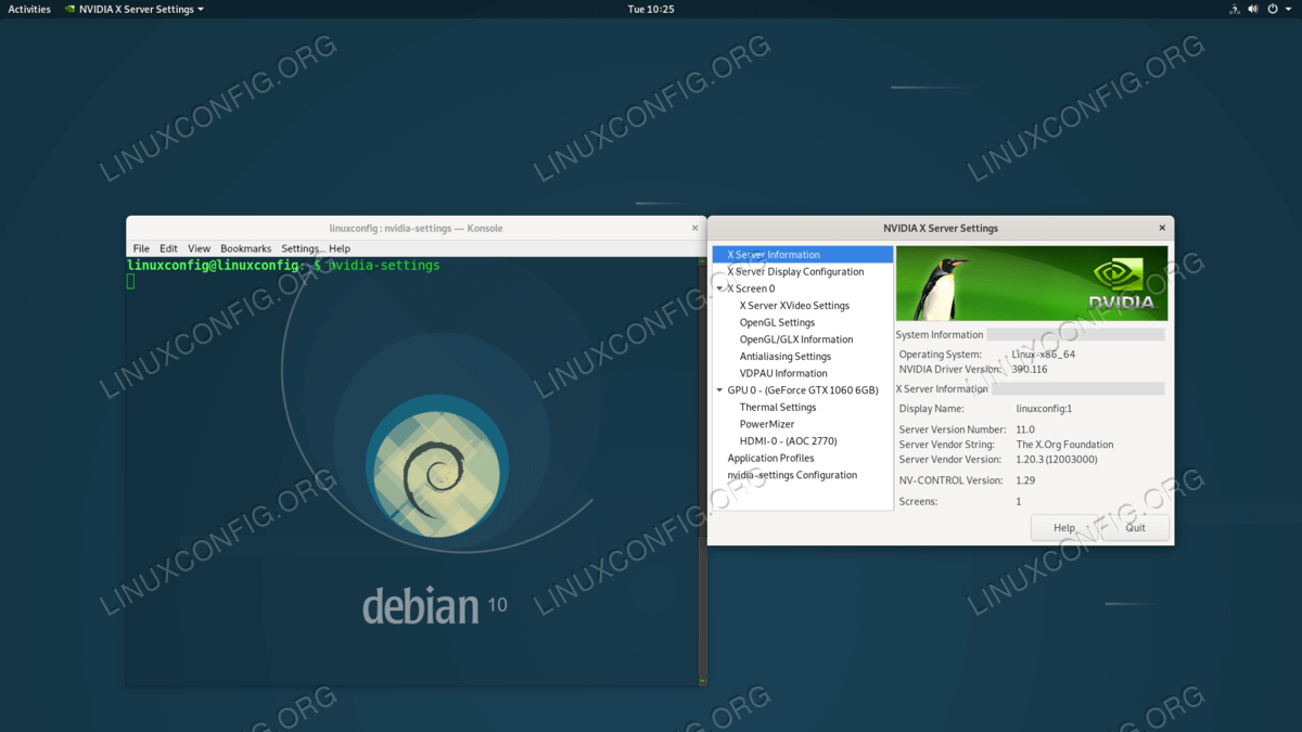 Nvidia driver installed on Debian 10 Buster GNU/Linux