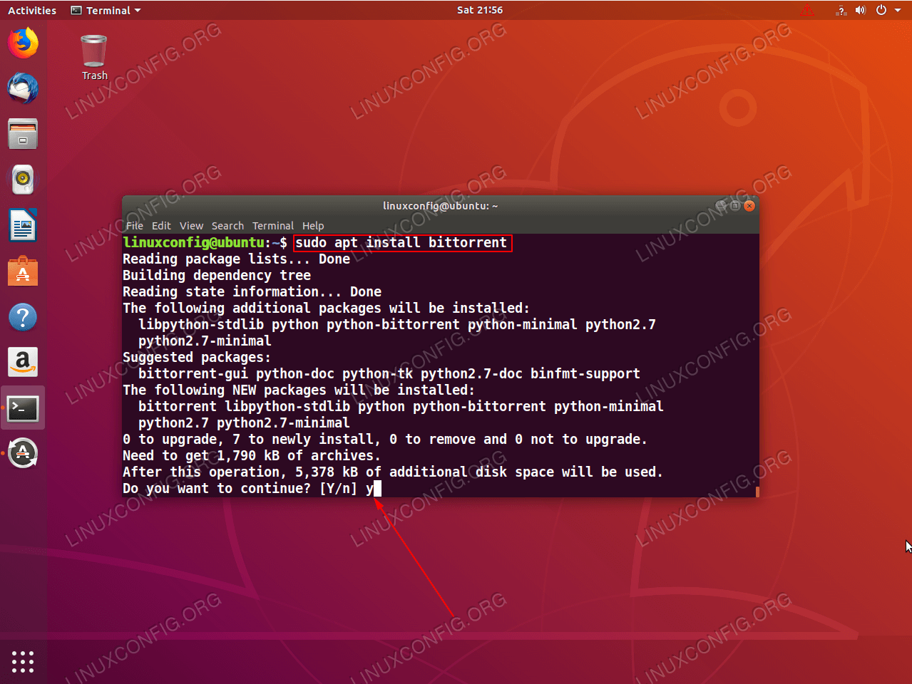 using apt to install package on ubuntu linux