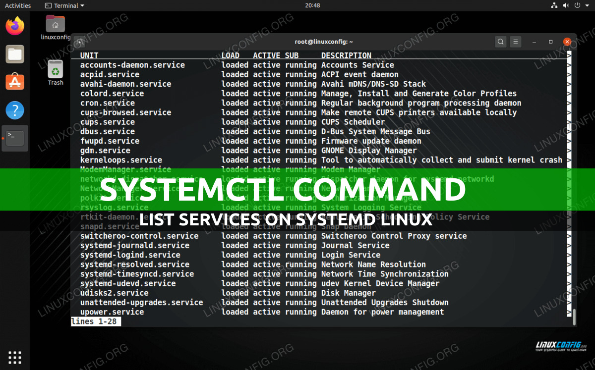 List of services on Linux