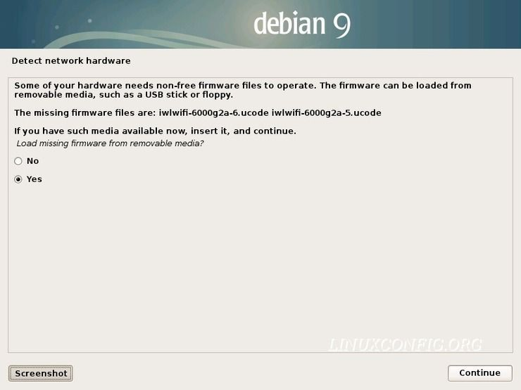 Load missing firmware - Debian installation