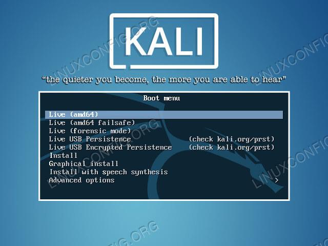 Kali Linux Install Boot Menu