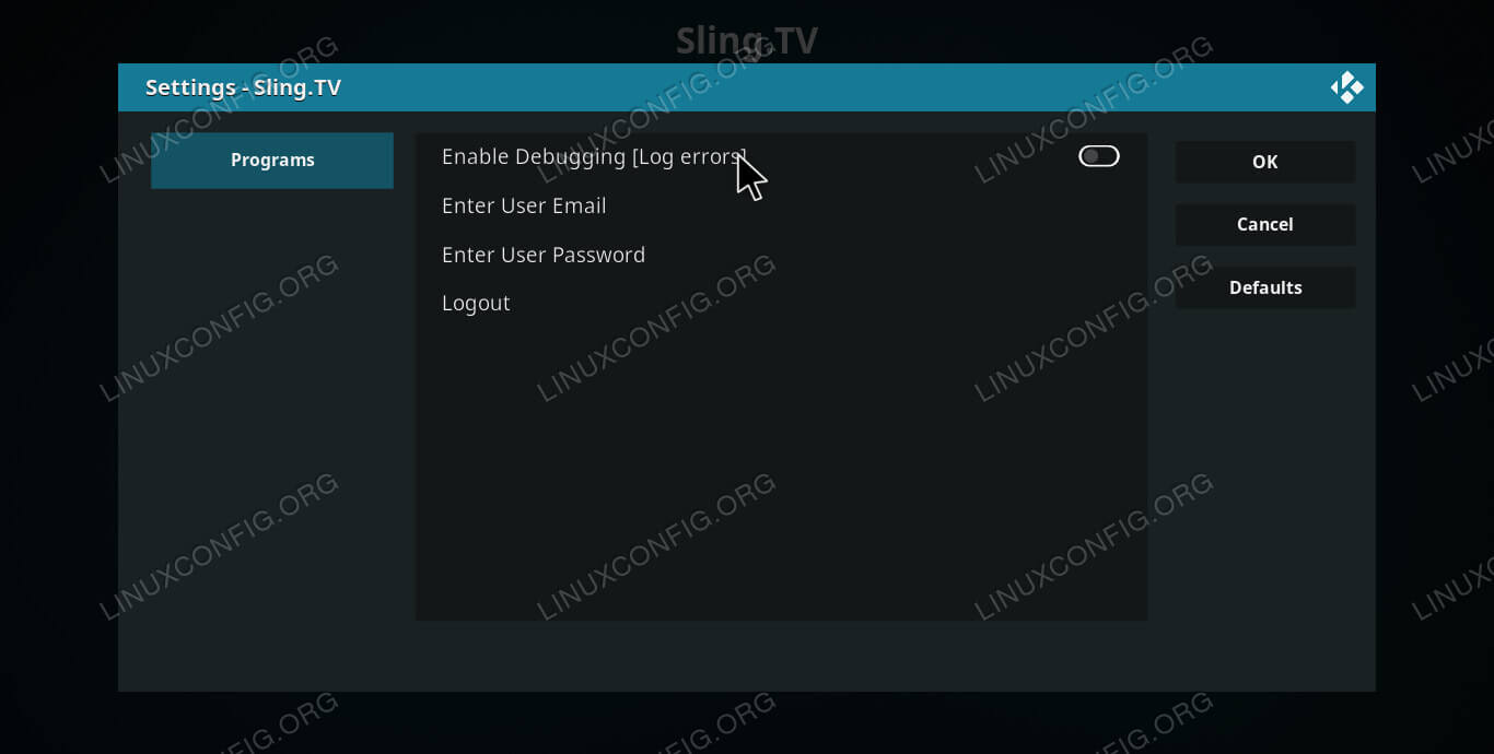 Sling TV Configuration on Kodi