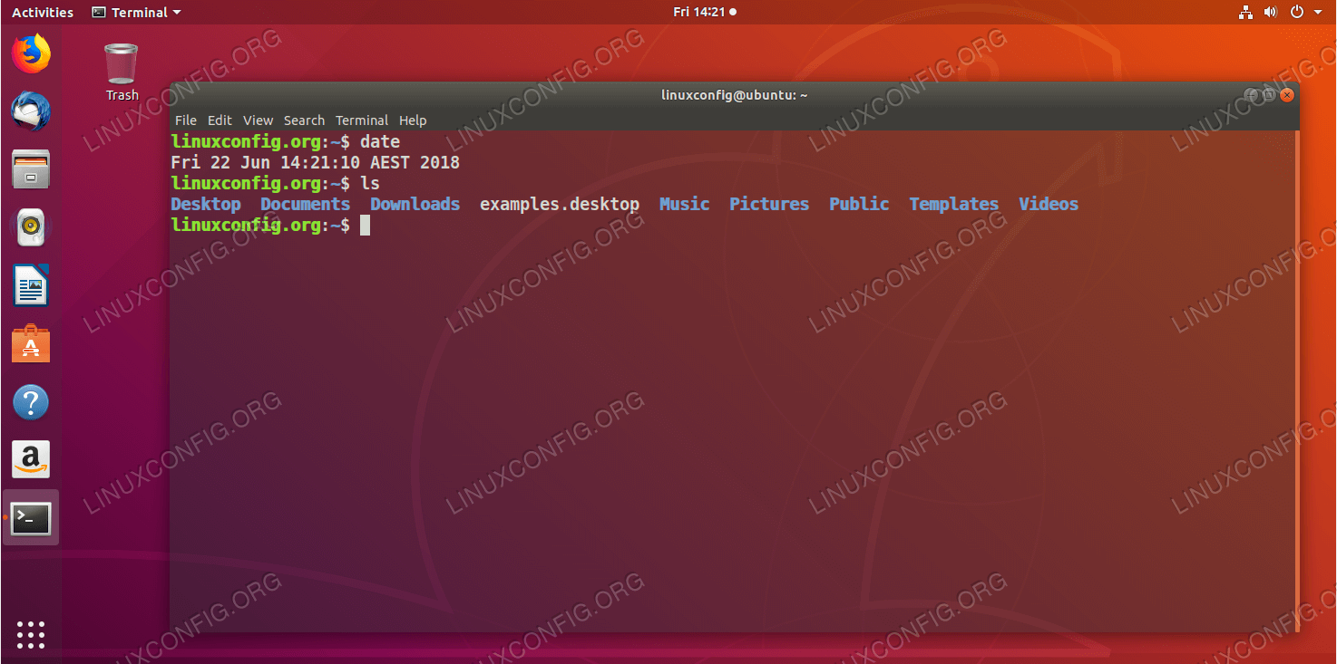 Command line terminal window on Ubuntu Linux Operating system