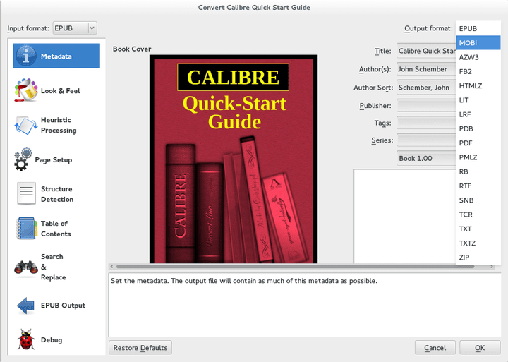 Epub mobi conversion to