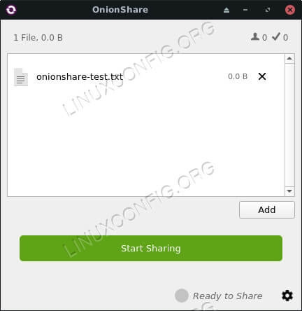 Onionshare with a file