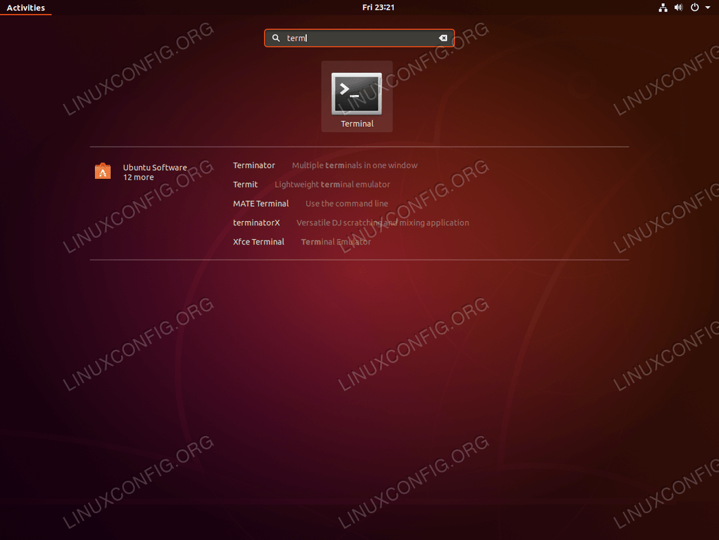 Terminal on Ubuntu Bionic Beaver 18.04 Linux - activities