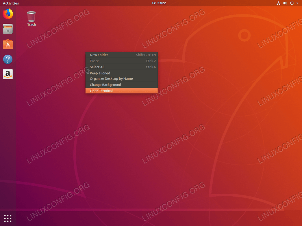 Terminal on Ubuntu Bionic Beaver 18.04 Linux - right click desktop