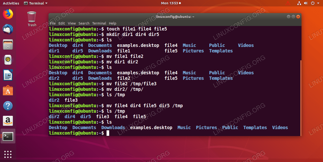 Working example on how to move and rename files or directories under GNU/Linux by using the linux mv command.