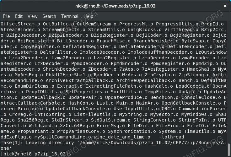 Build P7Zip on RHEL 8