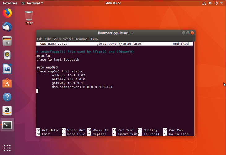 How to configure static IP address on Ubuntu 18.04 Bionic Beaver Linux