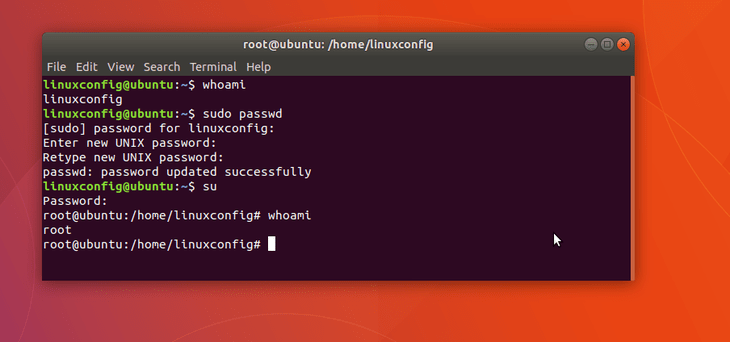 set root password on Ubuntu 18.04 Bionic Beaver Linux