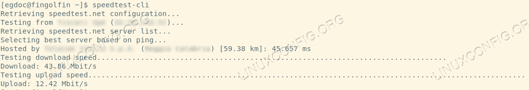 Testing Internet connection speed from a Linux command line using speedtest-cli command