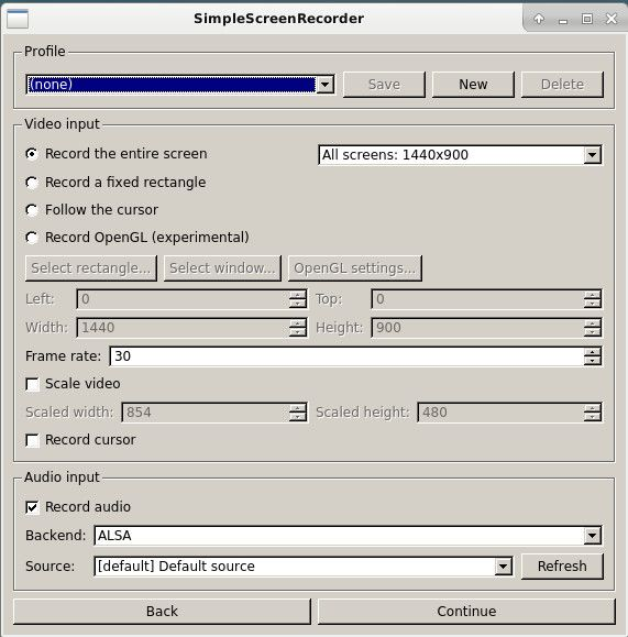 SimpleScreenRecorder Basic Options