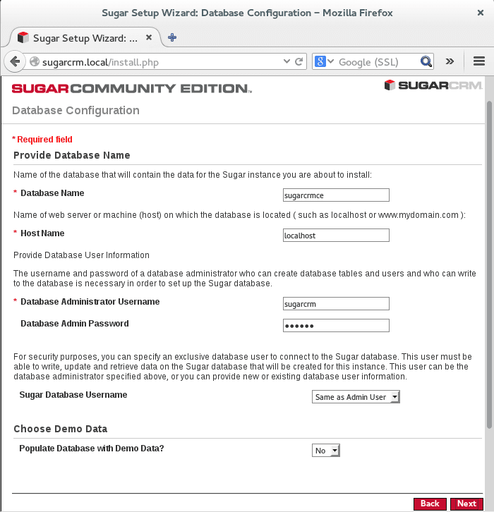configure database settings to be used for sugarcrm ce