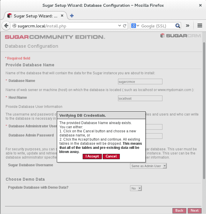 confirm if database exists and want to overwrite