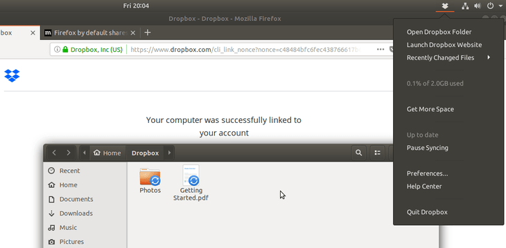 How to install and integrate Dropbox with Ubuntu 18 04
