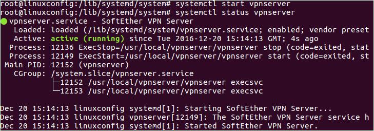 systemd service for vpnserver