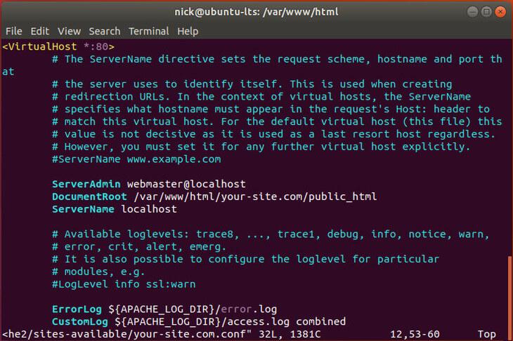 Ubuntu Bionic Apache Configuration LAMP