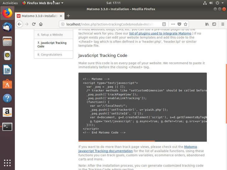 Ubuntu Bionic JavaScript Tracking Code