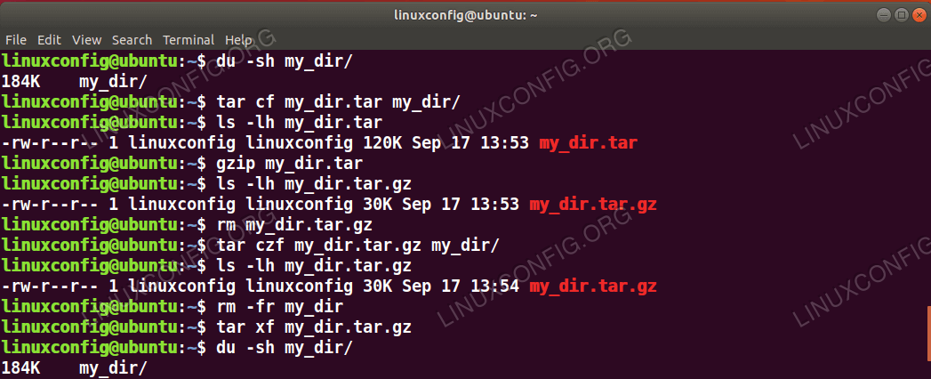 using tar, gzip and gunzip Linux commands
