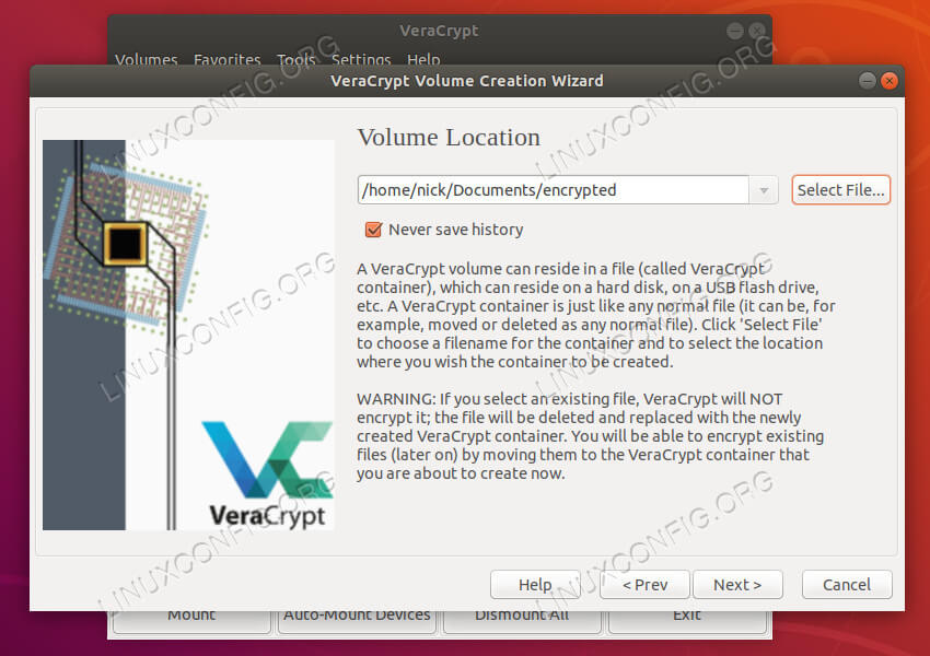 VeraCrypt choose location