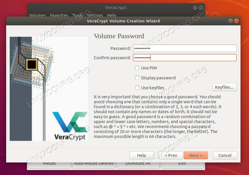 VeraCrypt choose password