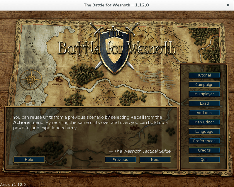 Wesnoth game menu