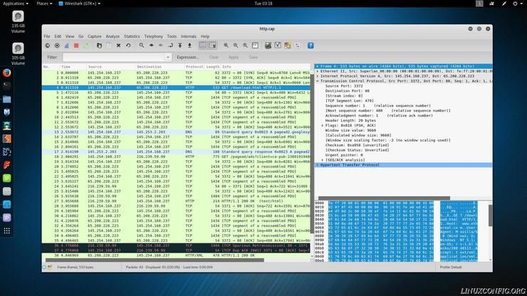 Wireshark listing TCP packet info