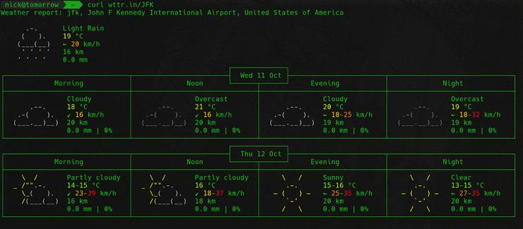 Weather by airport from wttr.in