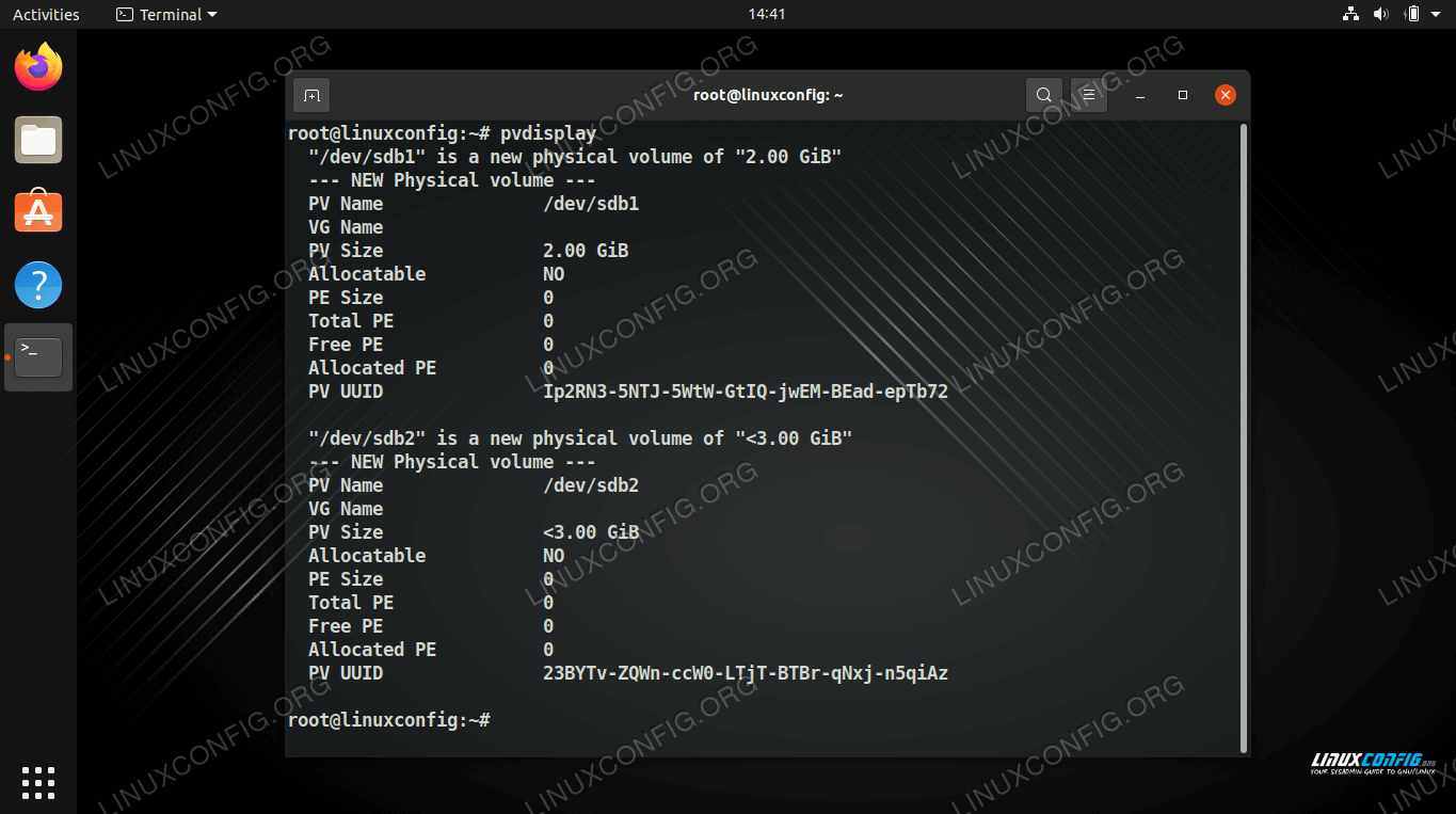 Use pvdisplay command to see a list of physical volumes