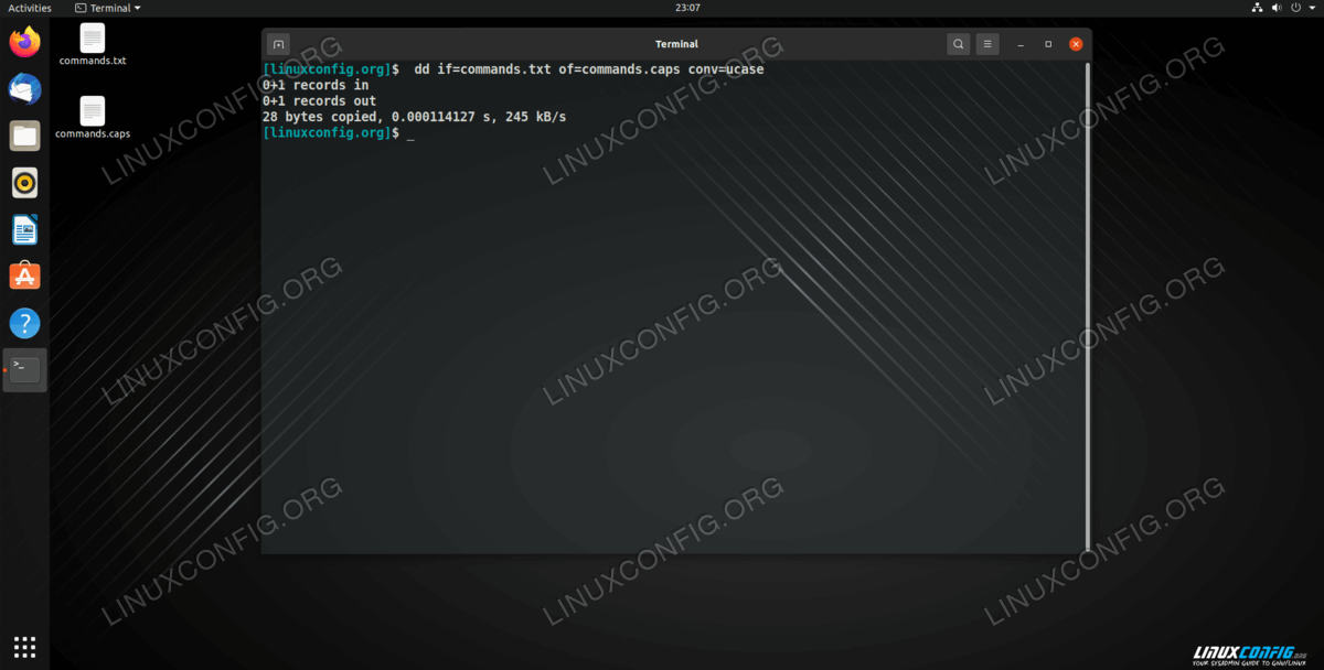 Using the dd command to convert a list of Linux commands to all caps