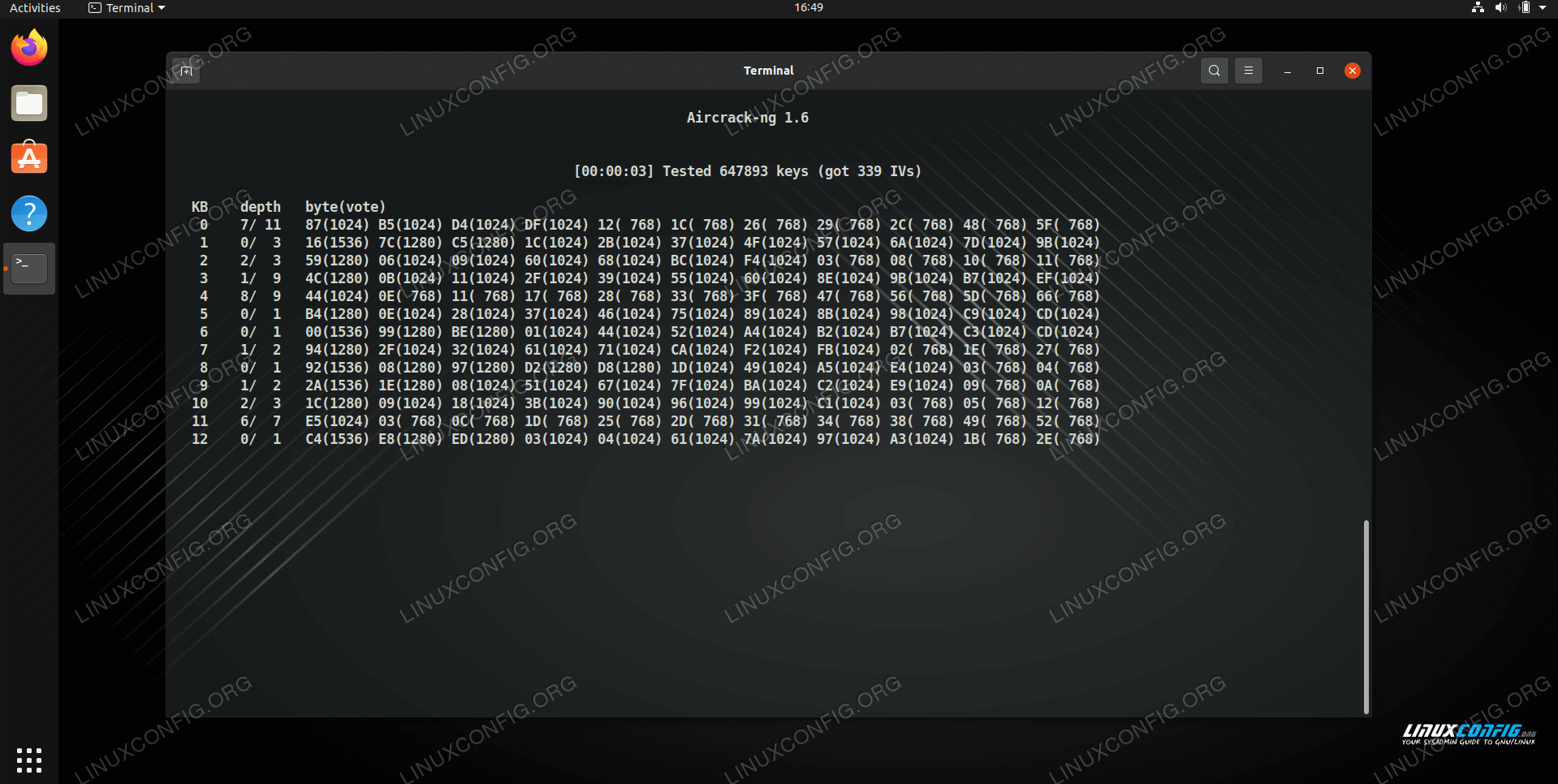 aircrack-ng attempting to crack the WEP key on Linux