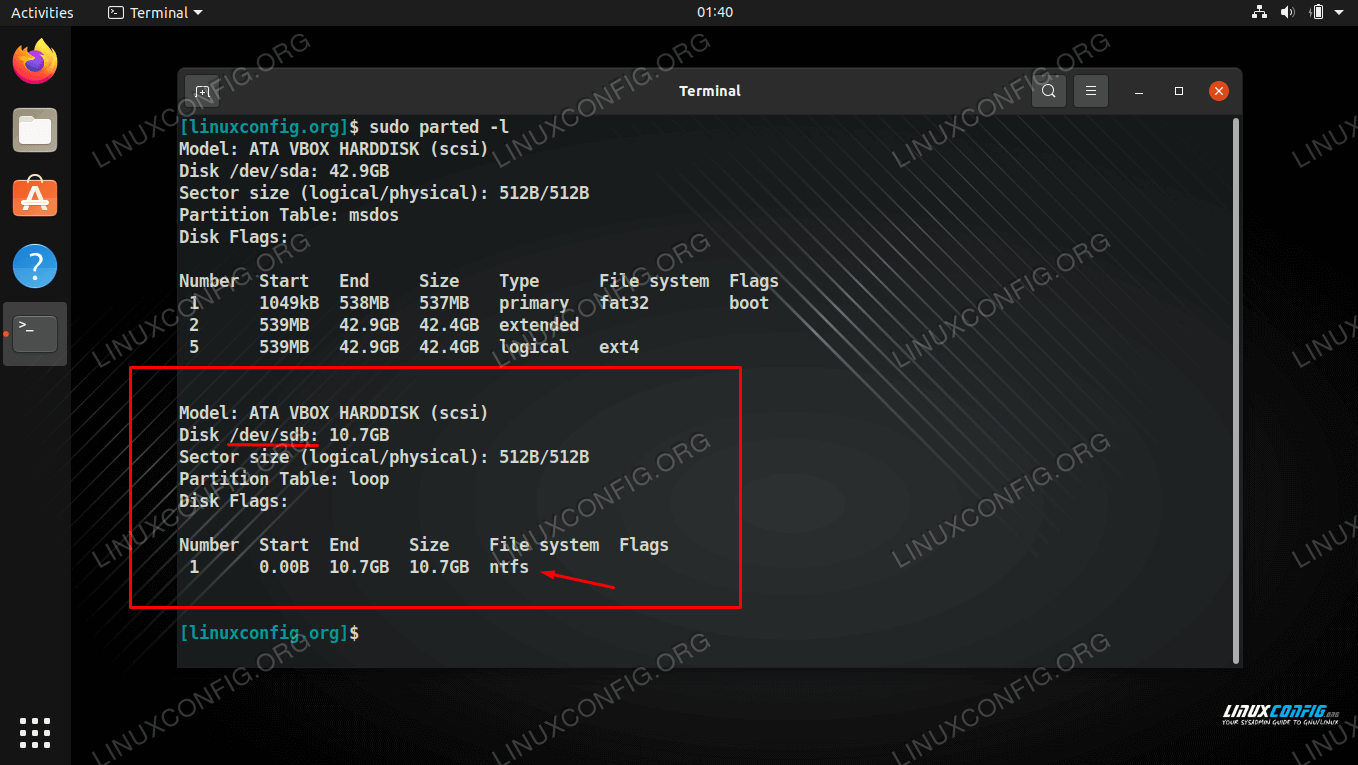 Our NTFS formatted partition can be identified by /dev/sdb in the parted output