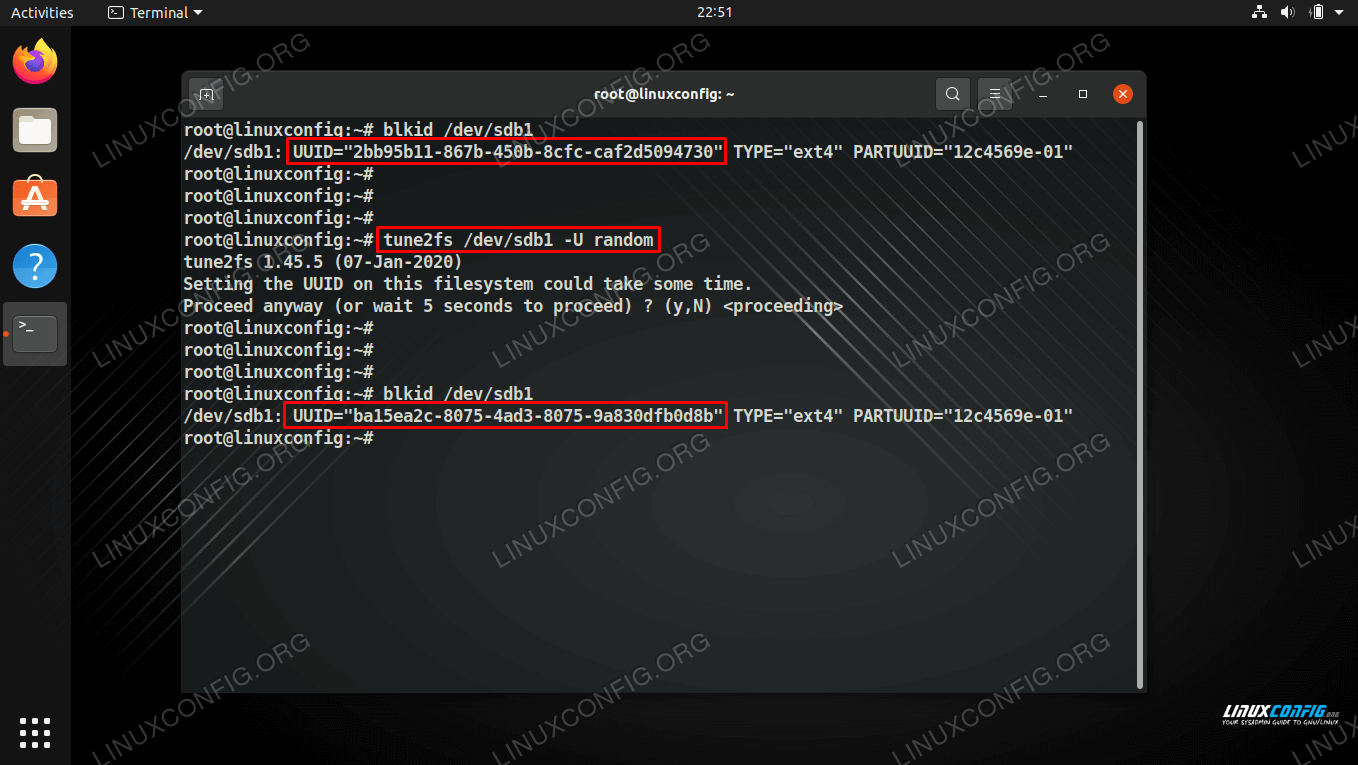 Retrieving and setting a new UUID for a partition on Linux