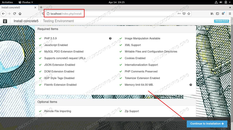 Accessing the Concrete5 CMS installer