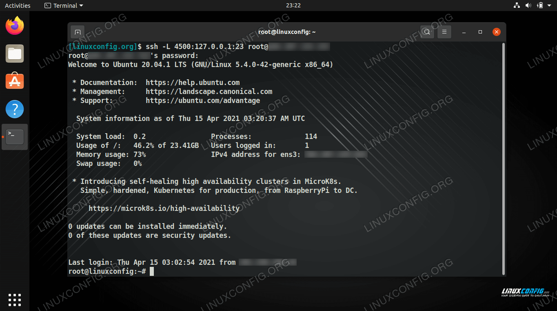 Creating an SSH tunnel through port forwarding on Linux