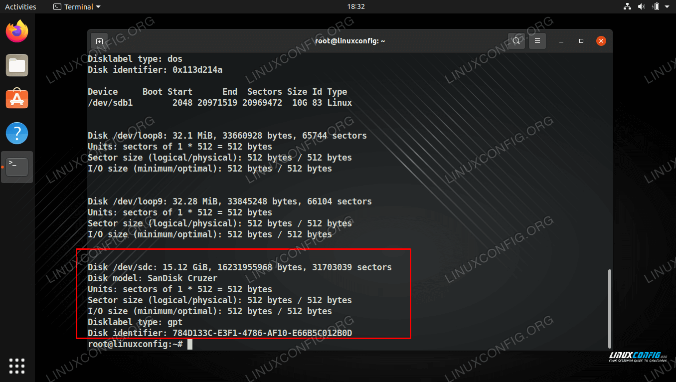 Finding the device name in fdisk output