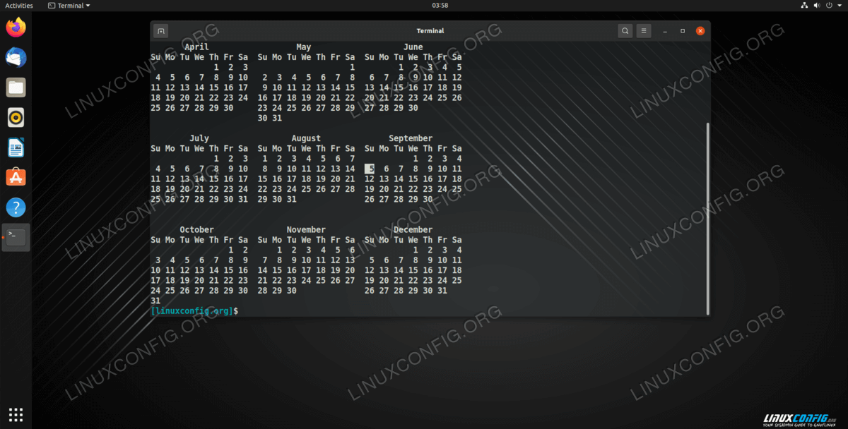 Using the -y option with the cal command to list all of the months of the current year in our Linux command line terminal