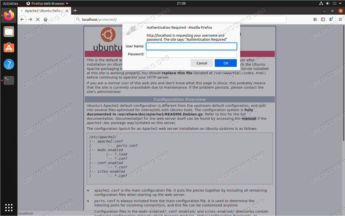 We are prompted for a username and password when trying to access the protected directory