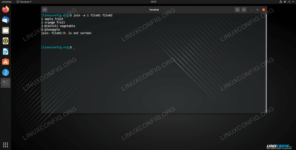 Using join with the -a option to print the unmatched lines in the output