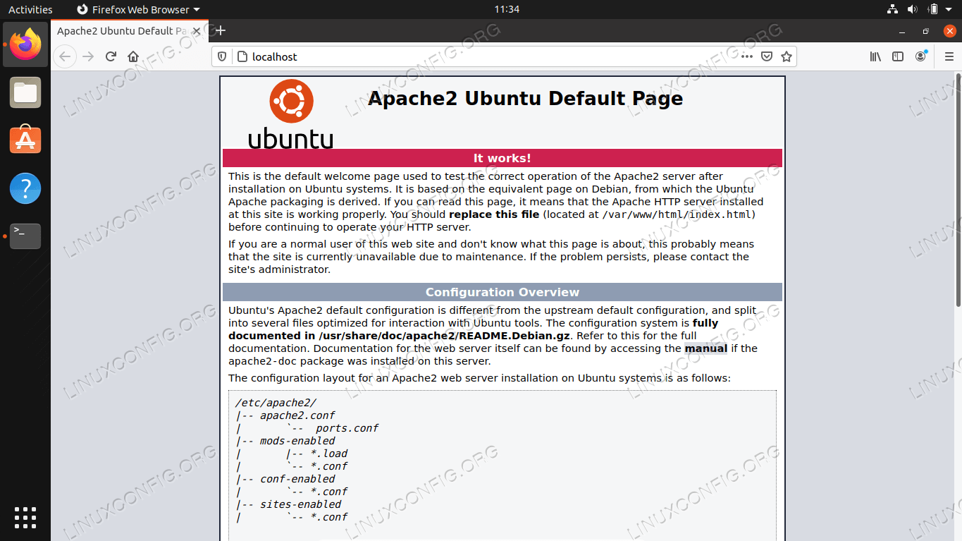 Default Apache page, indicating that our website is accessible