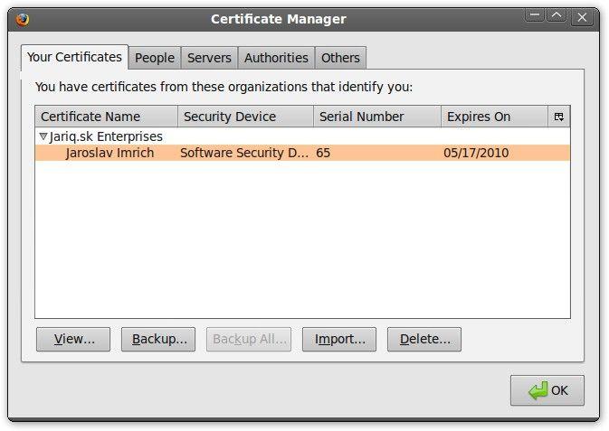 Firefox SSL certificate manager