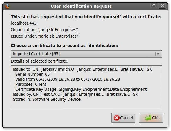select ssl certificate to by used with ssl connection