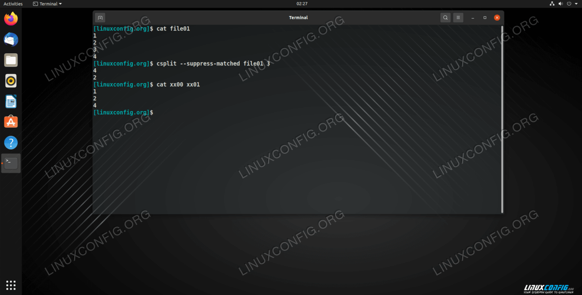 Using --suppress-matched command line option to omit a specified line